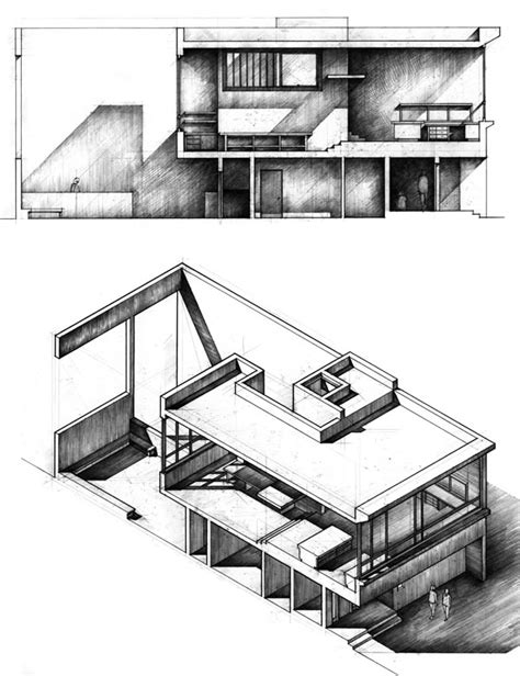 section drawing architecture paraline and section drawings from the second architecture