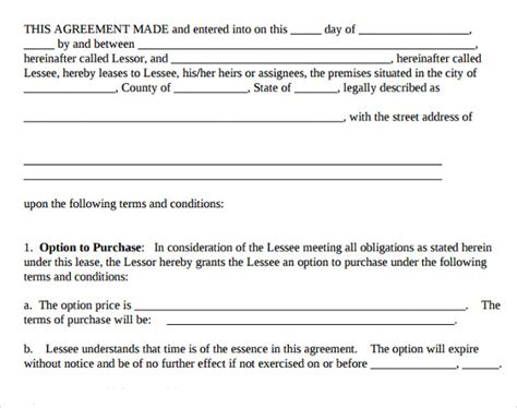 8 Lease Purchase Agreement Template To Download Sle Templates Lease Option Template