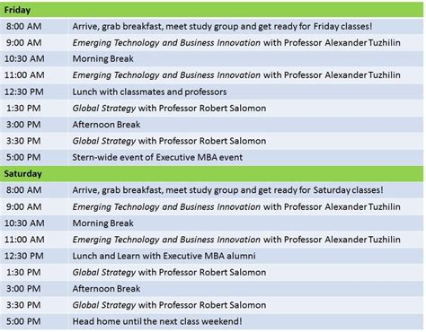2019 Utexas Executive Mba Class Calendar by Schedule Calendars Nyu