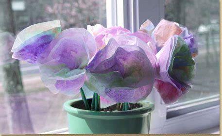 watercolor coffee filter flowers craft project ideas