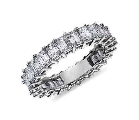 emerald cut eternity ring in platinum 4 ct tw