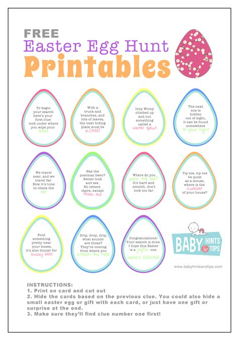 free easter egg hunt clues printables baby hints and tips