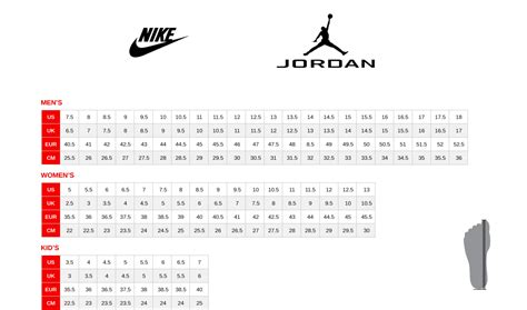 shoe size chart jordans size table basketball online shop basketzone net