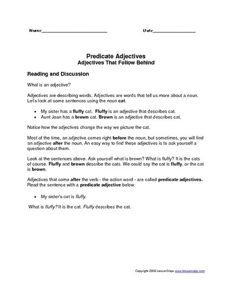 Predicate Nominative Worksheet by Worksheets Predicate Adjective Worksheet Opossumsoft