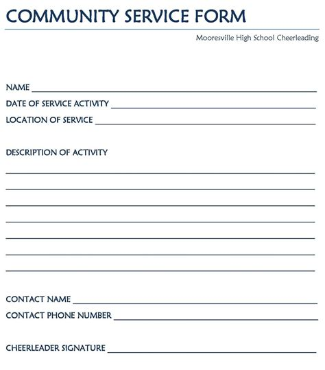 community service template printable community service hours form car interior design