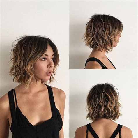 women s undone textured lob with long side swept bangs and pale women s sexy layered bob with curtain bangs and undone