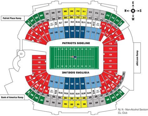 gilette stadium seats gillette stadium seating chart