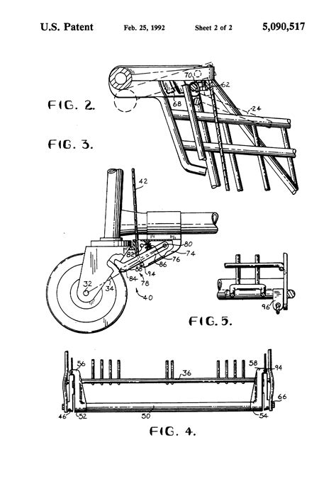 Brake System Drawing Patent Us5090517 Braking System For A Grocery Cart Or