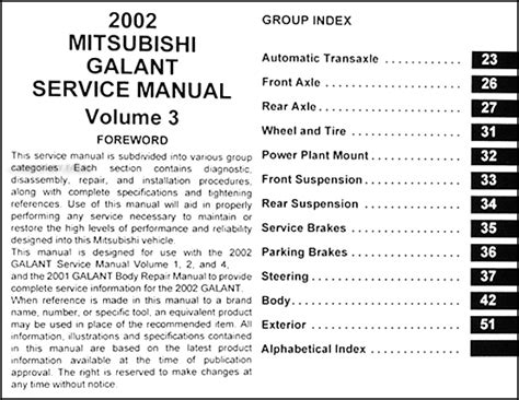 service manual automotive service manuals 1986 mitsubishi galant transmission control 2002 mitsubishi galant repair shop manual set original