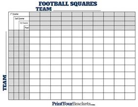 Football Square Board Template by Football Squares With Quarter Lines Printable Version