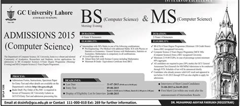 Gcu Mba Admission 2015 by Gc Lahore Bs And Ms Computer Science Admissions