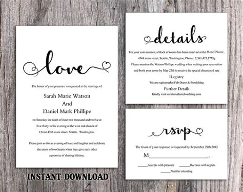 diy wedding invitations template diy wedding invitation template set editable word file