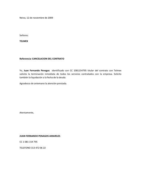 formato carta de cancelacion telmex contrato telmex