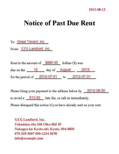 Past Due Rent Letter Template Sles Letter Cover Templates Past Due Rent Letter Template