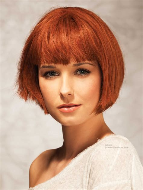 updos for chin length hair chin length bob with just above the eye brows bangs red hair