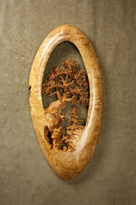 unique oak tree wood carving home wall