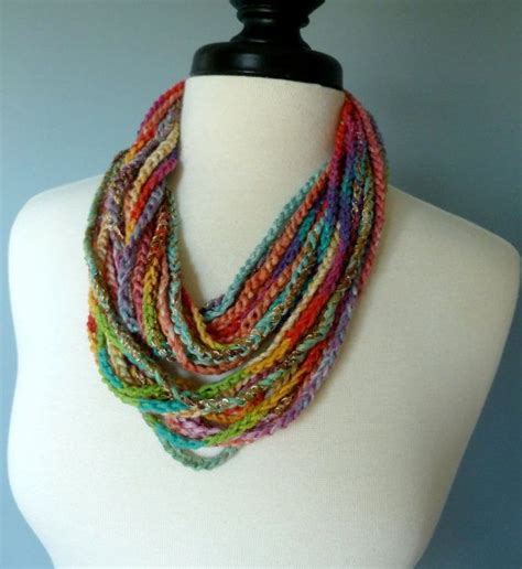 crocheted necklace scarf wool different types of and