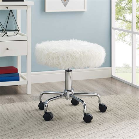 Faux Fur Desk Stool rolling swivel stool faux fur white metal frame
