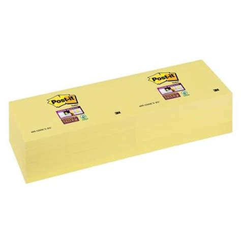 The Sticky Factor 3 by Post It Sticky Note Canary Yellow 76x127mm Pack Of