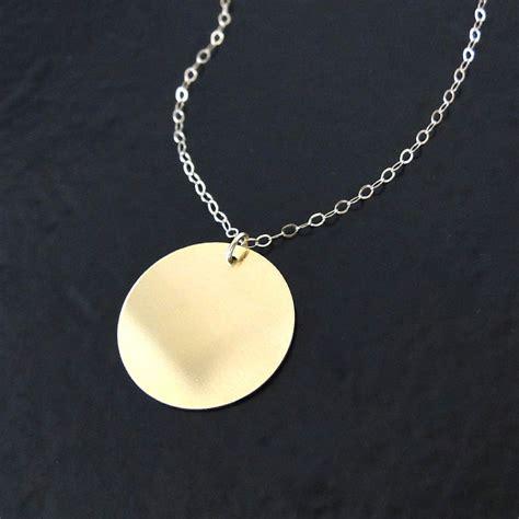 14k 10k solid gold engravable disc necklace 16mm circle
