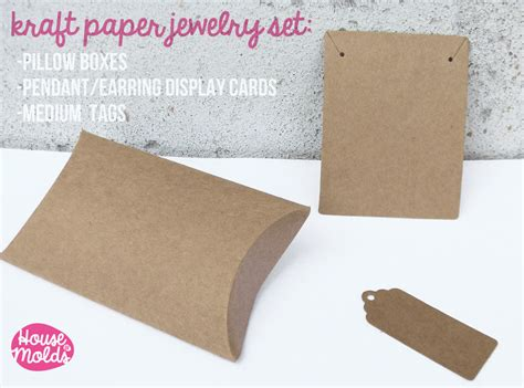 How To Make Paper Jewelry Boxes - kraft paper simple blank jewelry packaging set pillow