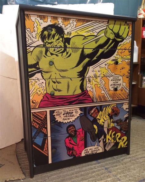 decoupage comics upcycled chest of drawers with marvel comic decoupage