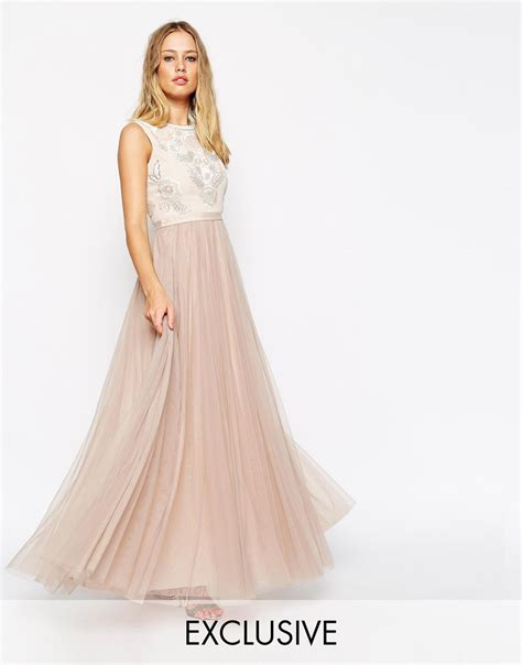 Mira Dress Dress Longdress Dress Terbaru Maxi Dress lyst needle thread embellished lace maxi dress in pink