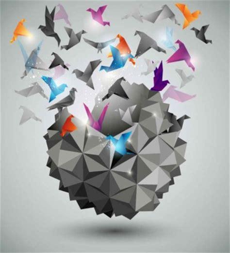 Origami Dekoratif 3 Dimensi 252 231 boyutlu ka茵莖t vin 231 arka plan vekt 246 r arka plan bedava