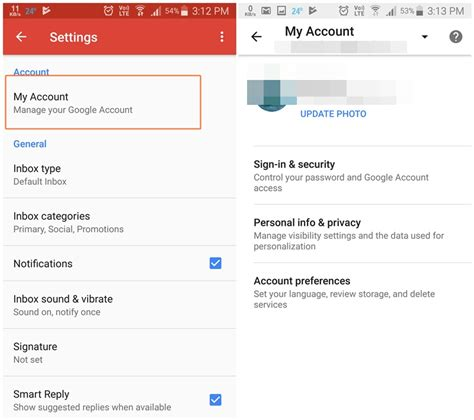 how to change account on android gmail android app update lets you change password and profile information from app itself