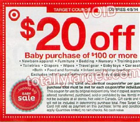 Target 20 Gift Card Coupon - upcoming 20 off 100 baby purchase target coupon totallytarget com