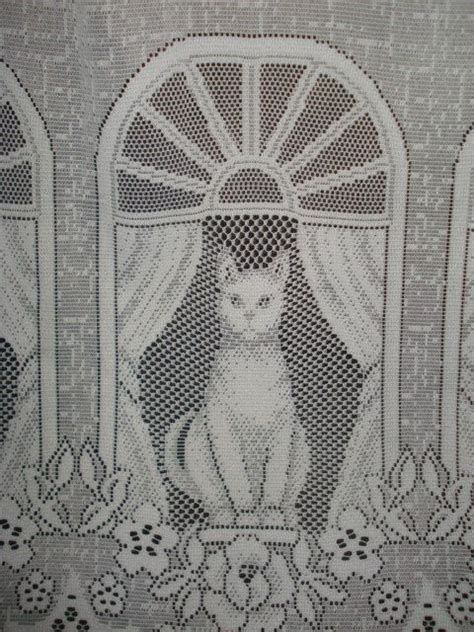 cat lace curtains vintage white lace net cat curtain 1 wide panel cats