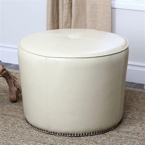 cream leather ottoman abbyson living sienna round nailhead trim cream leather