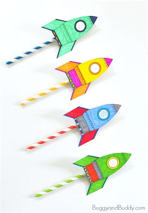 straw template straw rockets with free rocket template