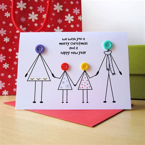 Handmade Personalised - family button card family cards and