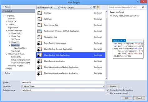 Web Application Project Template Getting Started With Node Js Development In Visual Studio