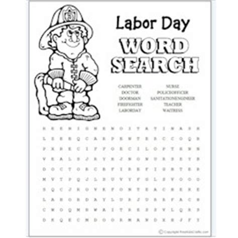 labor day coloring page kindergarten labor day word search