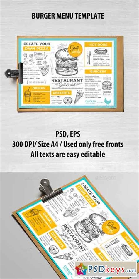 burger menu template food menus 187 free photoshop vector stock image