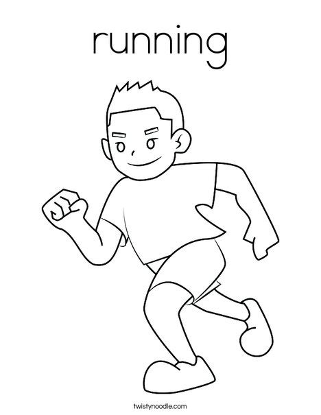 Coloring Page Of Boy Running | running coloring page twisty noodle