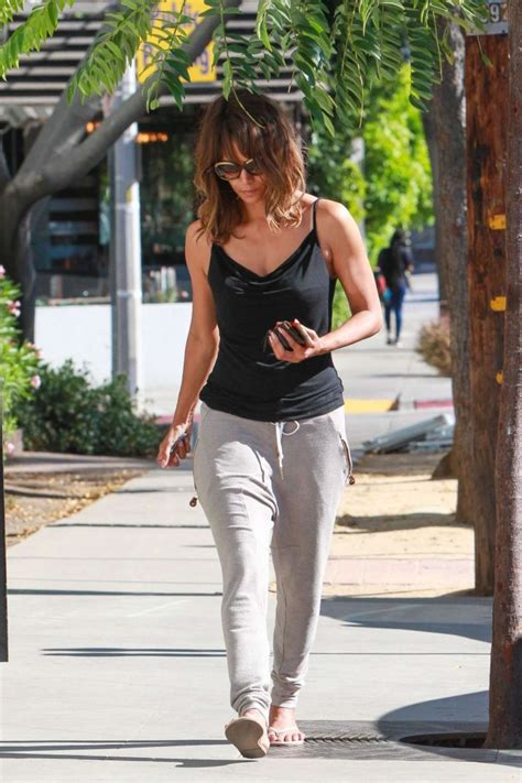 halle berry arrives at kinara skin care clinic and spa
