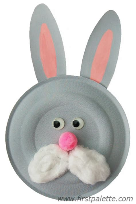 Bunny Paper Plate Craft - paper plate animals craft crafts firstpalette