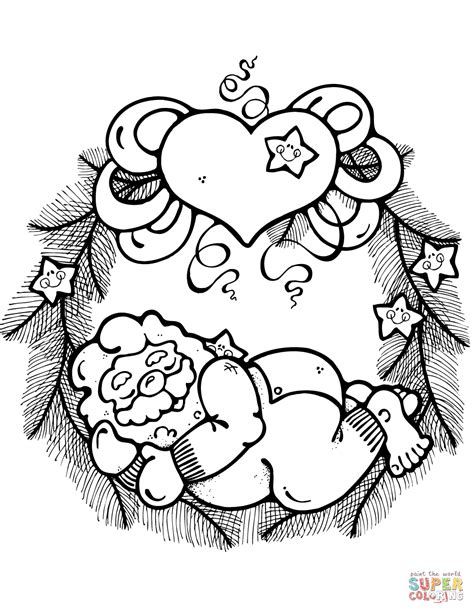 wreath coloring page wreath with sleeping santa claus decorated with hearts and