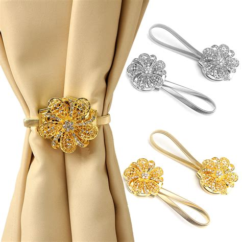 curtain clip backs 2pcs elastic magnetic crystal curtain tie backs tie backs