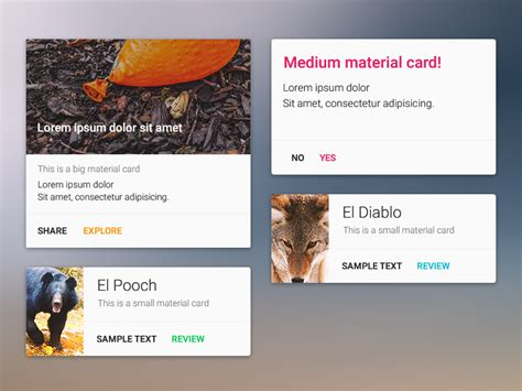 materials for card material design card component uplabs