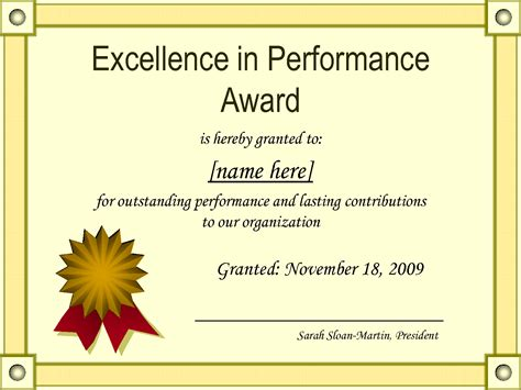 award certificate template effective certificate award template exle for