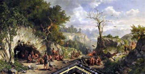 feuerstellen steinzeit file idealbild aus der steinzeit h 246 hlenbewohner darnaut