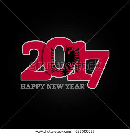 year 2017 with albania flag pattern happy new year design