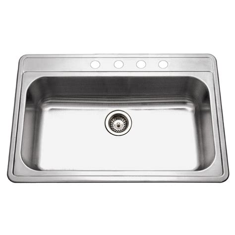 Home Depot Kitchen Sinks Stainless Steel Houzer Premiere Gourmet Series Drop In Stainless Steel 33 In 4 Single Bowl Kitchen Sink