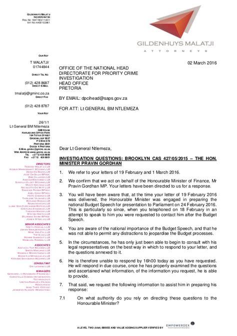 Letter Finance Minister Minister Of Finance Pravin Gordhan S Letter