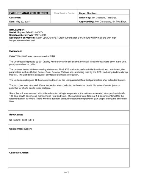 failure analysis report template analysis report template helloalive