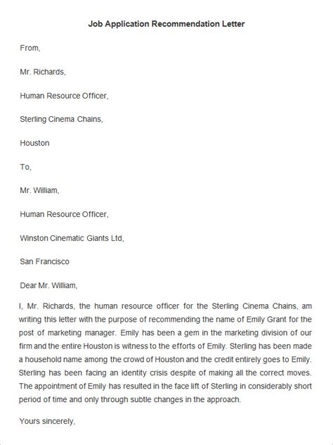 application letter of recommendation 18 employee recommendation letter templates hr template